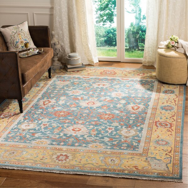 Arango Sultanabad Hand Knotted Wool/Cotton Blue/Gold Area Rug by Bloomsbury Market