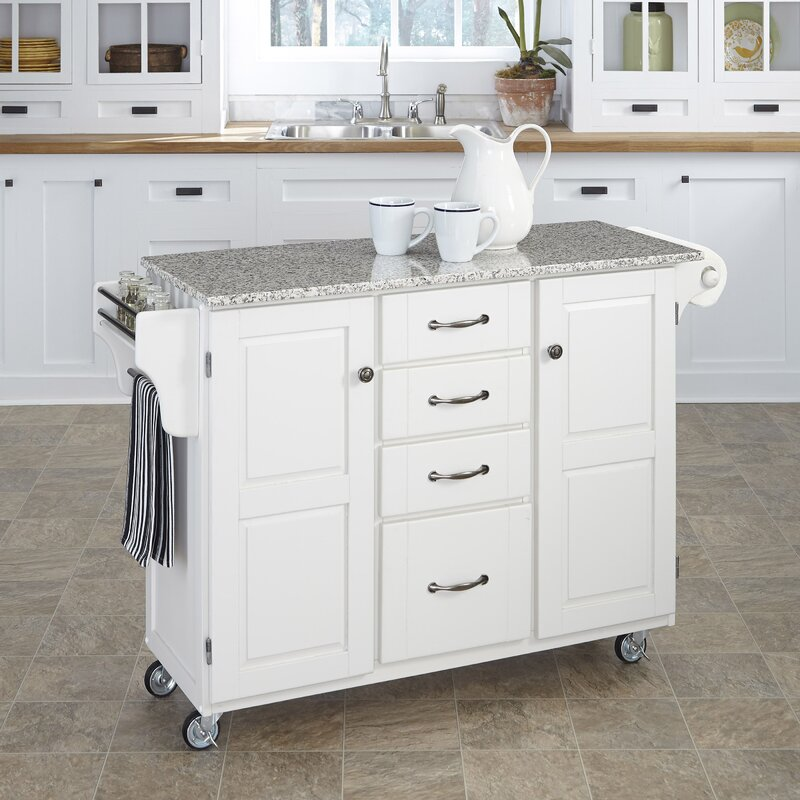 August Grove Adelle-a-Cart Kitchen Island with Granite Top & Reviews ...