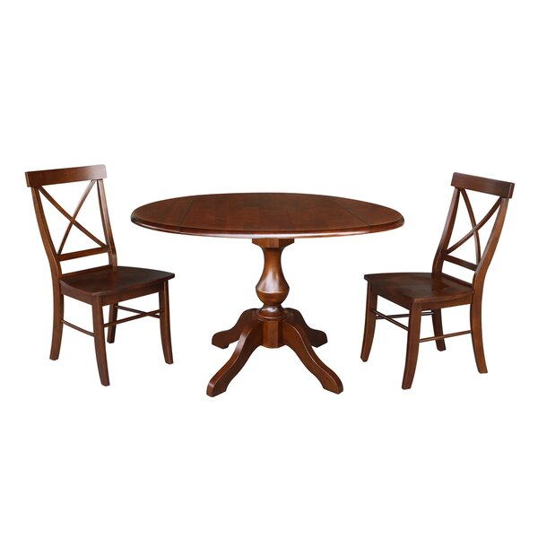 Vanslyke Round Top 3 Piece Drop Leaf Solid Wood Dining Set by August Grove