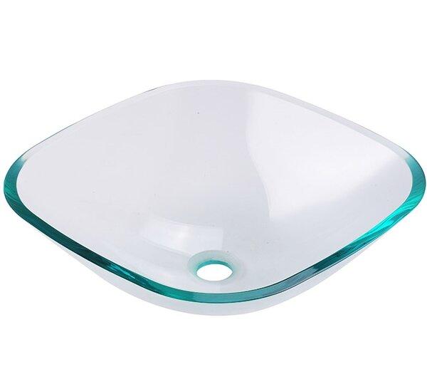 Brilliante Glass Square Vessel Bathroom Sink by Fresca