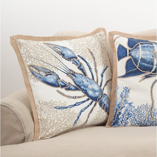 Aloisia Lobster Down Filled Cotton Throw Pillow by Highland Dunes