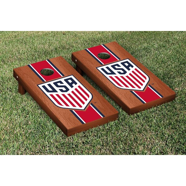 US Soccer USSF Rosewood Stained Stripe Version Cornhole Game Set by Victory Tailgate