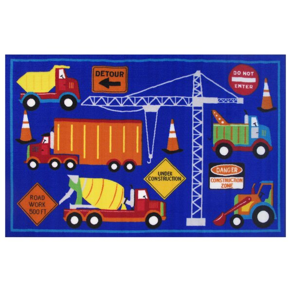 Fun Time Men At Work Blue Area Rug by Fun Rugs