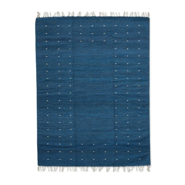 Hand-Crafted Blue Area Rug by Novica