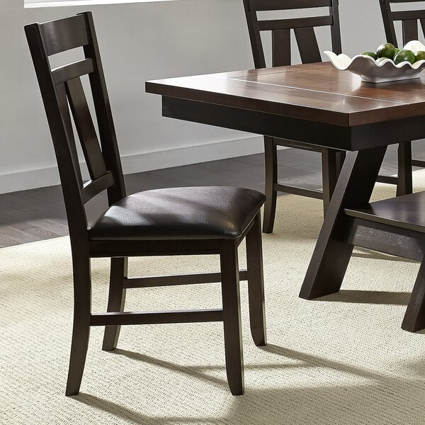 Mckinnie Upholstered Slat Back Side Chair In Drak Brown (Set Of 2) By Charlton Home