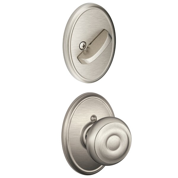 Interior Handleset Georgian Knob and Interior Single Cylinder Deadbolt Thumbturn with Wakefield Trim by Schlage