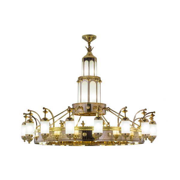 Ogema 42 - Light Unique / Statement Wagon Wheel Chandelier By Rosdorf Park