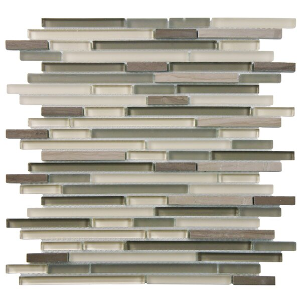 Sierra  Random Sized Glass/Natural Stone Mosaic Tile in Gray/Brown by EliteTile
