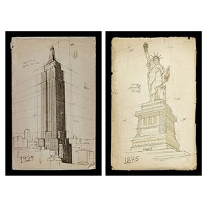 'American Landmarks' 2 Piece Framed Graphic Art Print (Set of 2) by Oliver Gal