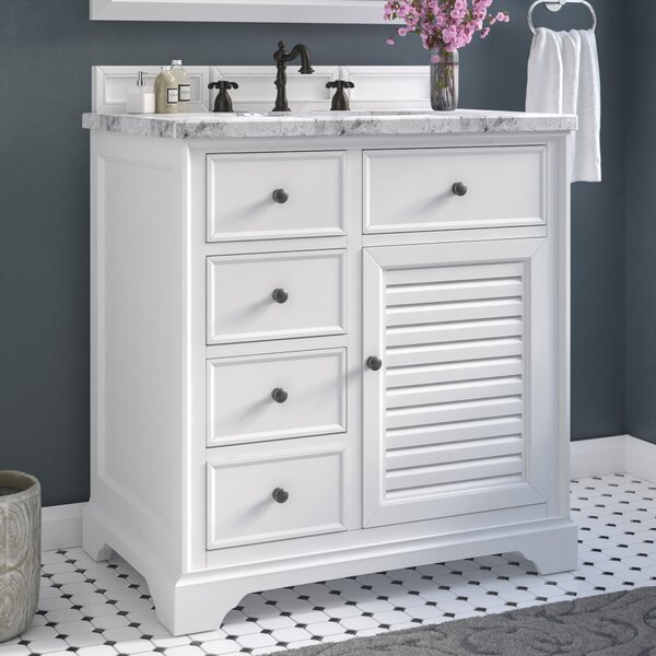 Osmond 36 Single Cottage White Wood Base Bathroom Vanity Set by Greyleigh