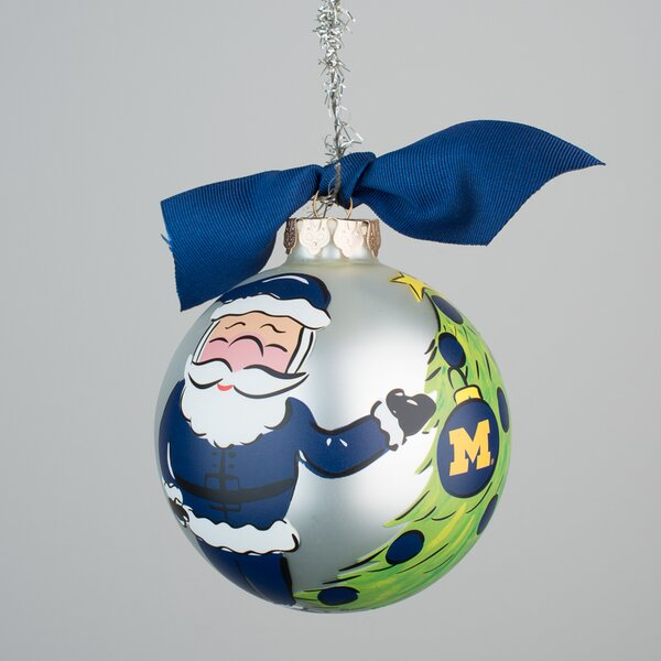 Michigan Santa Glass Ball Ornament by Glory Haus