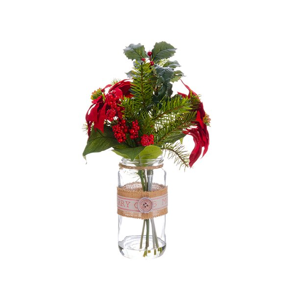 Artificial Poinsettia, Holly and Pine Christmas Arrangements with Glass Vase by Northlight Seasonal
