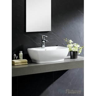 Best Price Modern Ceramic Rectangular Vessel Bathroom Sink with Overflow By Fine Fixtures