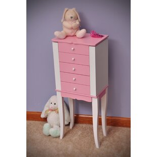 Louisa Girl's Jewelry Armoire in Pink and White by Mele & Co.