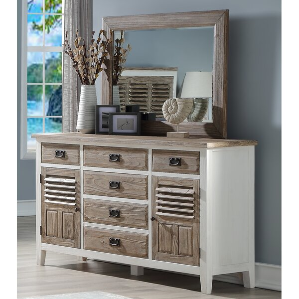 Matthews 6 Drawer Combo Dresser with Mirror by Rosecliff Heights