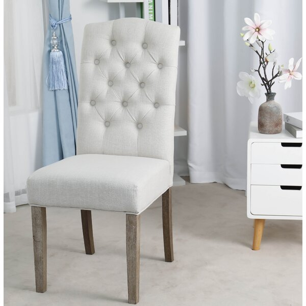 Zechariah French High Back Tufted Linen Upholstered Dining Chair (Set Of 2) By Ophelia & Co.