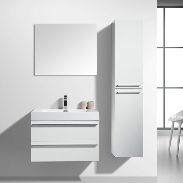Bolivia 30 Wall-Mounted Single Bathroom Vanity Set with Mirror by Foundry Select