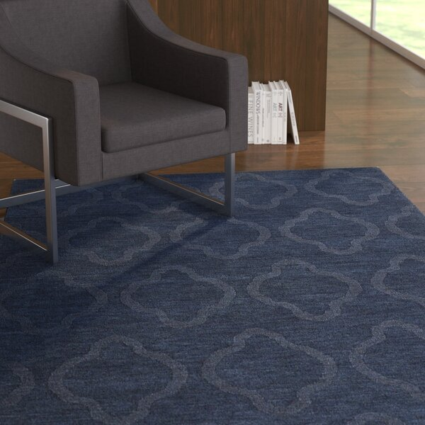 Dobson Handmade Navy Geometric Area Rug by Ebern Designs