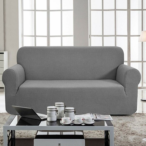 Jacquard Box Cushion Loveseat Slipcover by Winston Porter