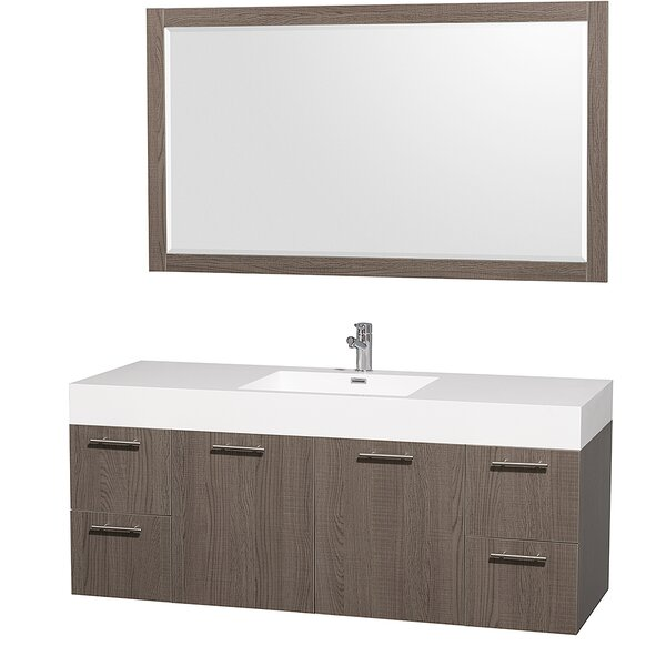 Amare 60 Single Bathroom Vanity Set with Mirror by Wyndham Collection