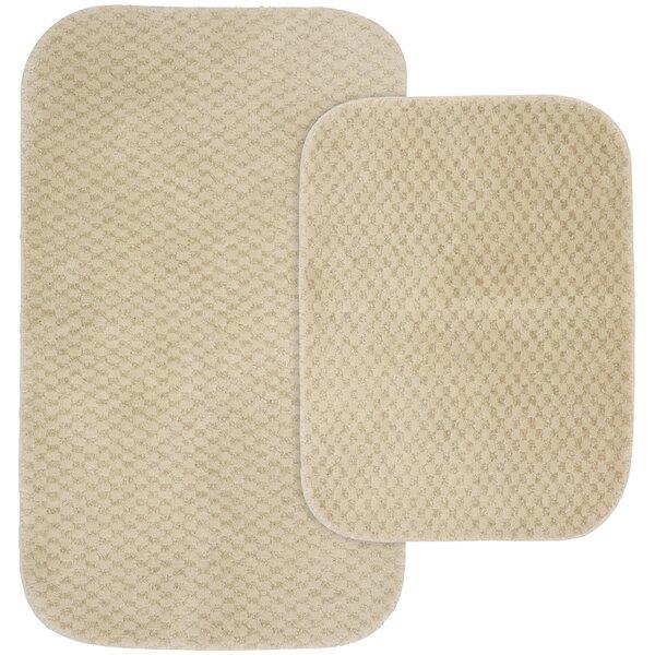 Corbin Rectangle Nylon Non-Slip Striped 2 piece Bath Rug Set (Set of 2)