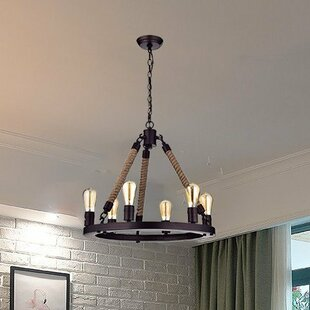 Read Reviews Rustic Rope 6-Light Wagon Wheel Chandelier By CLAXY