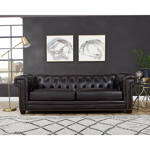 Batchelor Leather Sofa by Alcott Hill