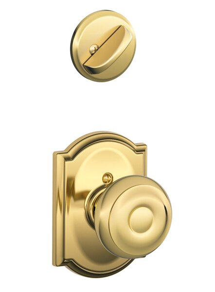 Interior Handleset Georgian Knob and Interior Single Cylinder Deadbolt Thumbturn with Camelot Trim by Schlage