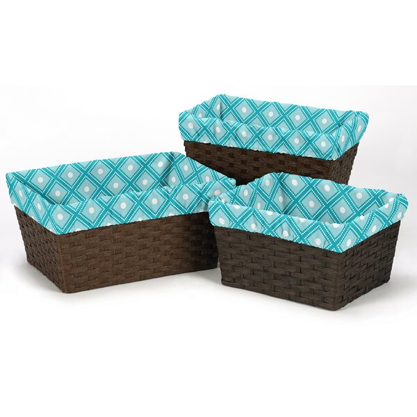 Mod Elephant 3 Piece Basket Liner Set by Sweet Jojo Designs