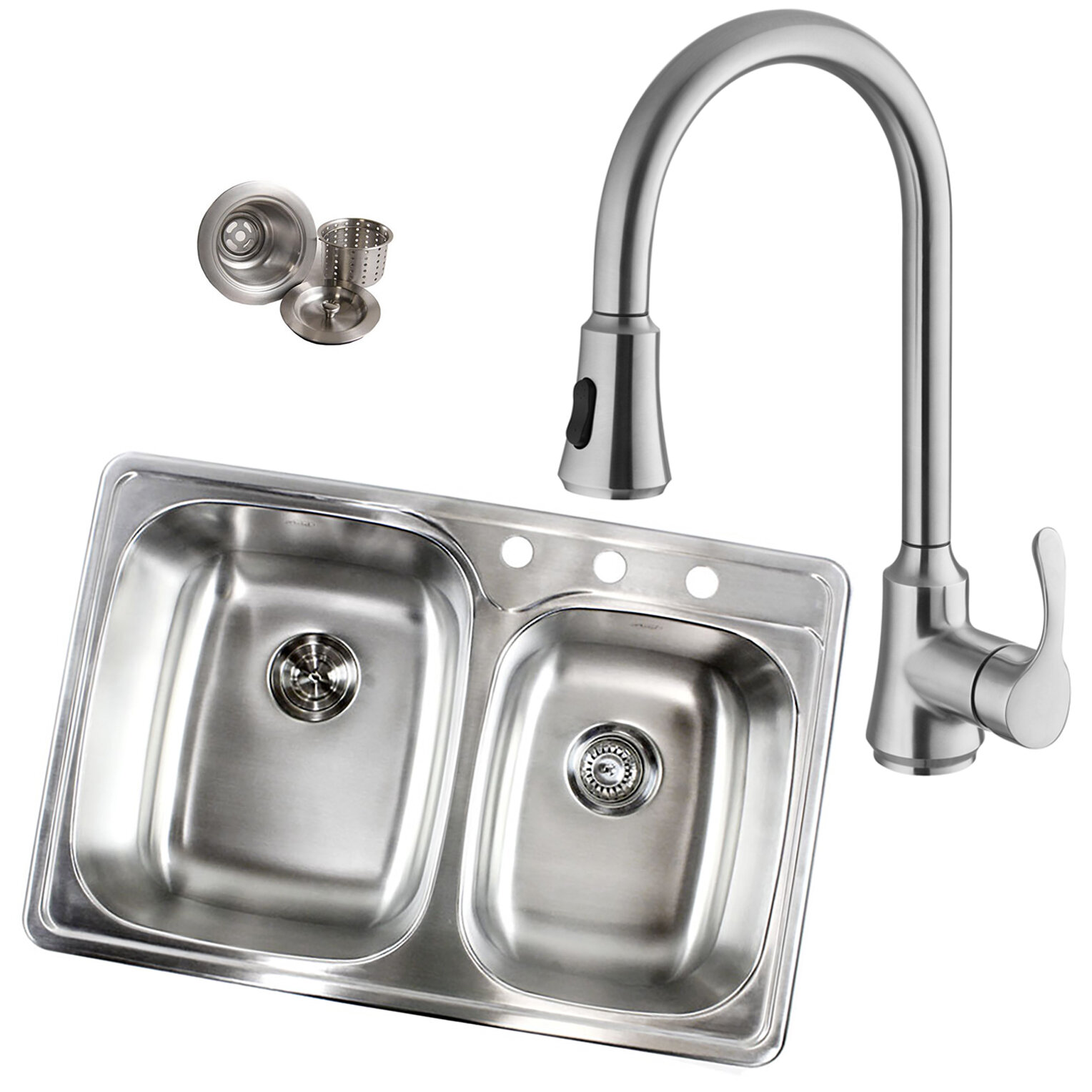Picture of: Tools Home Improvement 33 Inch Top Mount Drop In Stainless Steel 70 30 Double Bowl Kitchen Sink With 3 Faucet Holes 18 Gauge Double Bowl