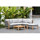 Olinda 4 Piece Teak Sectional Seating Group with Cushions
