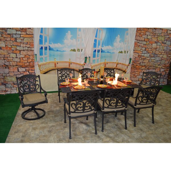 Nola 9 Piece Sunbrella Dining Set with Cushions by Darby Home Co