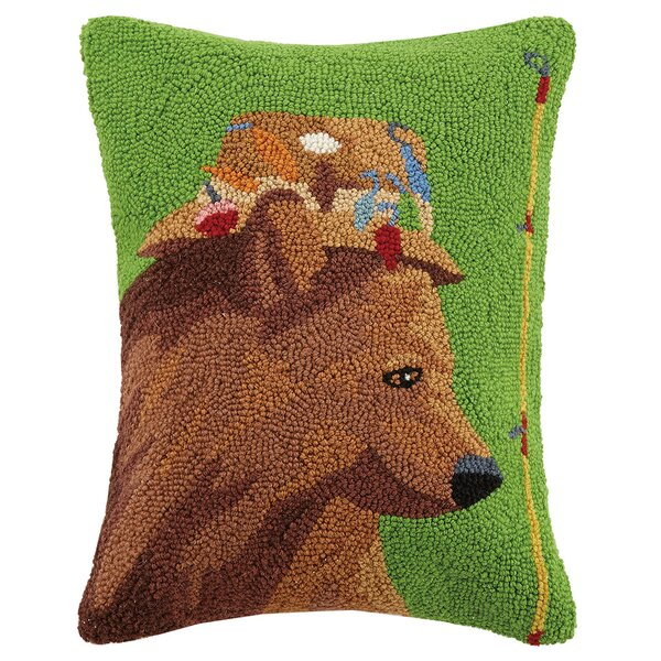 Bear Fishing Hat Wool Lumbar Pillow by Scott Church
