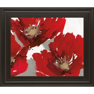 'Red Poppy Forest II' Framed Painting Print by Latitude Run