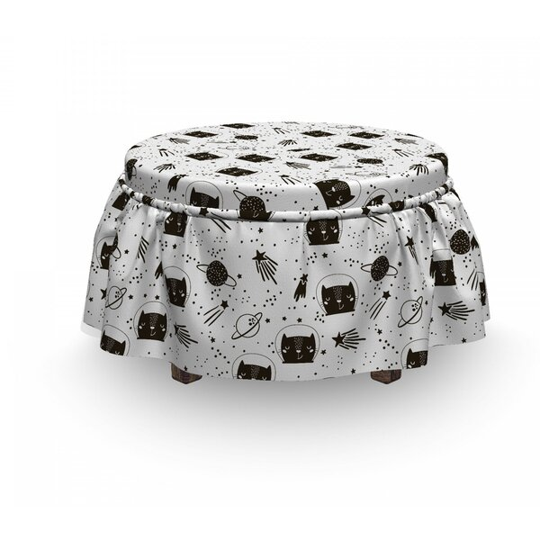 Cats In Outer Space Ottoman Slipcover (Set Of 2) By East Urban Home