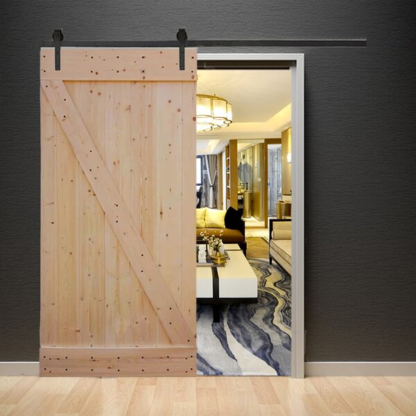 Natural Knotty Pine Solid Wood Panelled Slab Interior Barn Door by TMS