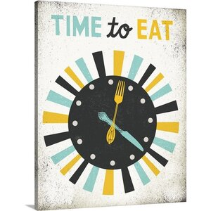 'Retro Diner Time to Eat Clock' by Michael Mullan Graphic Art on Wrapped Canvas by Great Big Canvas