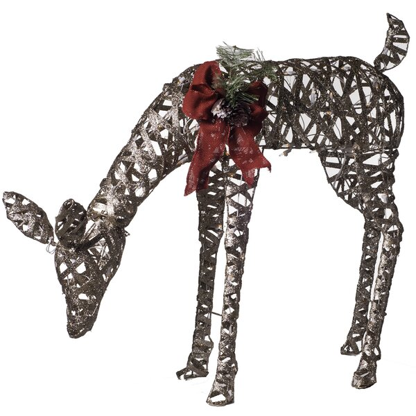 Pre-Lit Glittering Feeding Doe Christmas Decoration by Dyno Seasonal Solutions