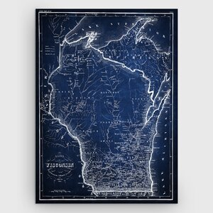 'Wisconsin Sketch Map' Graphic Art Print on Wrapped Canvas by Wexford Home