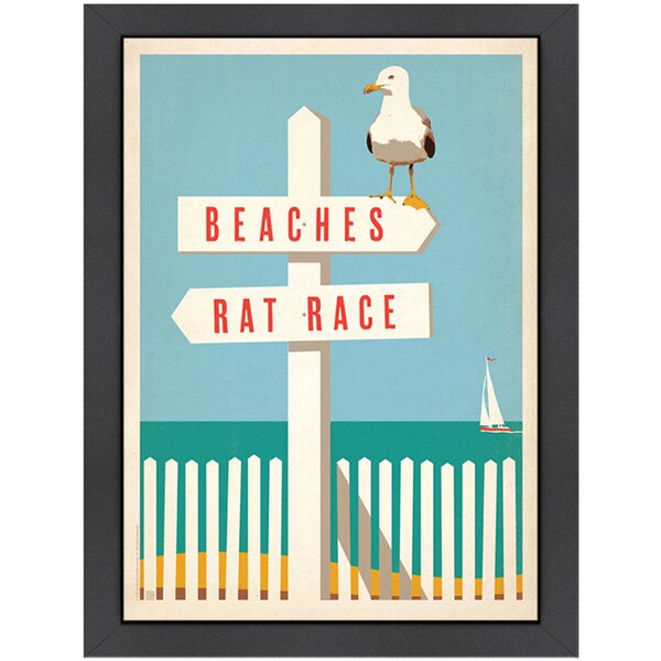 Beach Signs Framed Graphic Art by Americanflat