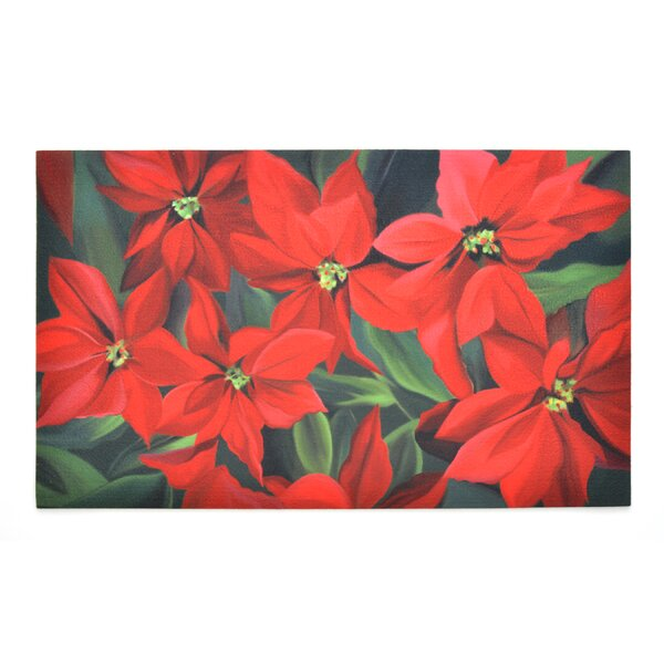 Poinsettia Crumb Rubber Doormat by The Holiday Aisle