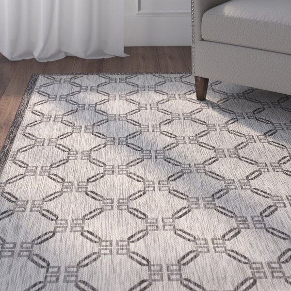 Cochrane Ivory/Charcoal Indoor/Outdoor Area Rug by Charlton Home