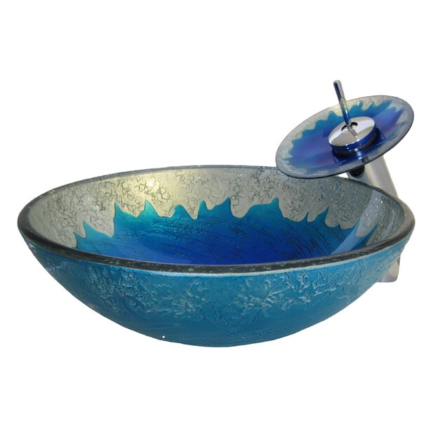 Diaccio Glass Circular Vessel Bathroom Sink with Faucet by Novatto