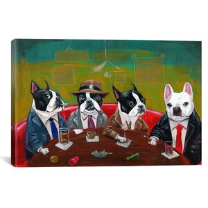 'Three Boston Terriers and a French Bulldog' Graphic Art Print by East Urban Home