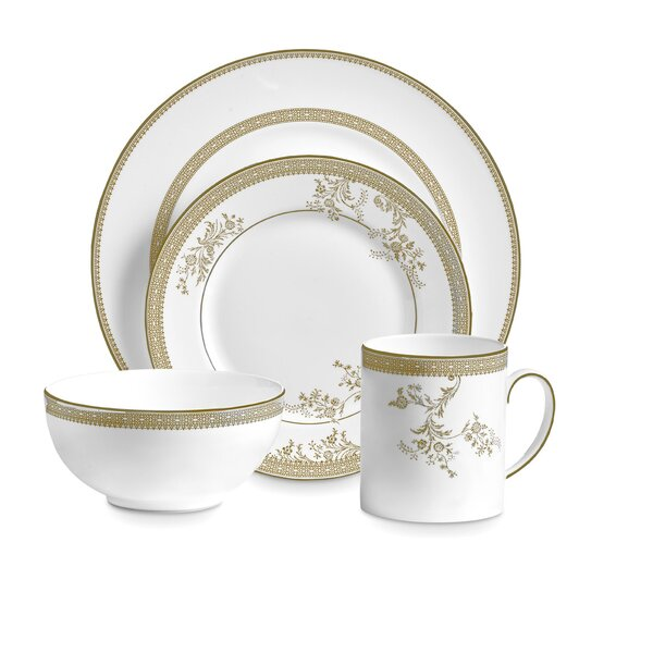 Lace 4 Piece Bone China Place Setting Set, Service for 1 by Vera Wang