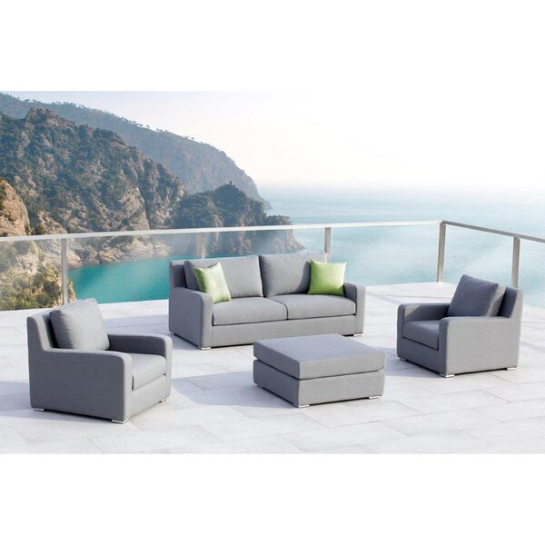 Royal 4 Piece Sunbrella Sofa Set with Cushions by Ove Decors