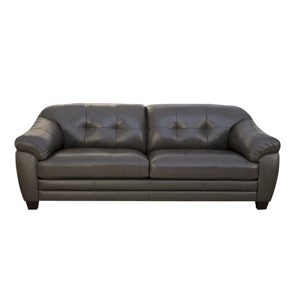 McKaylah Leather 88 Inches Pillow Top Arms Sofa By Winston Porter
