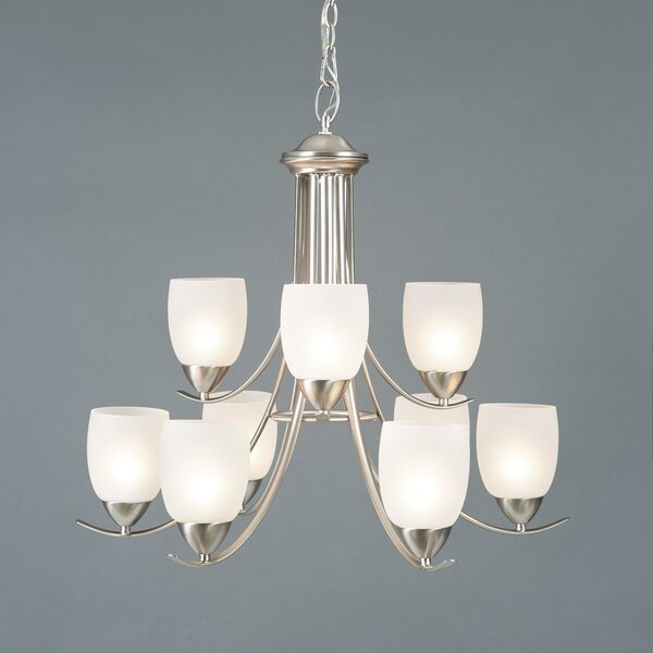 Monrovia 9 - Light Shaded Classic / Traditional Chandelier by Charlton Home Charlton Home