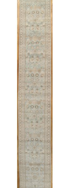 Khotan Hand-Knotted Light Blue/Ivory Area Rug by Pasargad