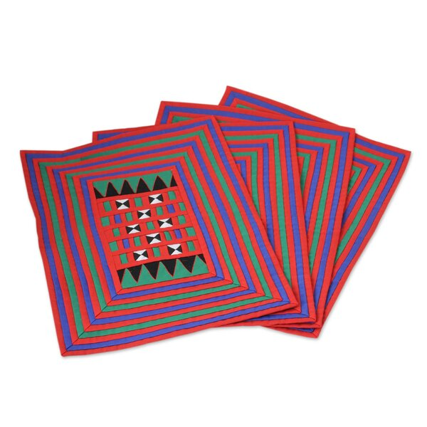 Festivities Handwoven Lahu Hill Tribe Cotton Placemat (Set of 4) by Novica